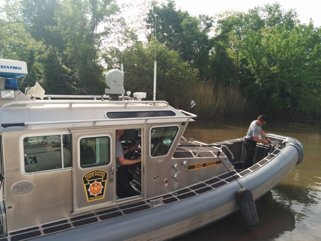 Police boat, taxi service for the Homeland Security officers who came to check up on us