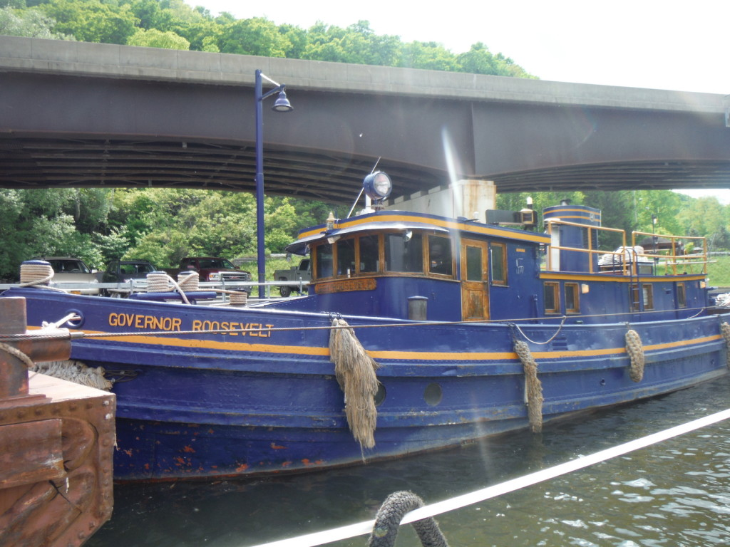 well-maintained canal maintenance boat