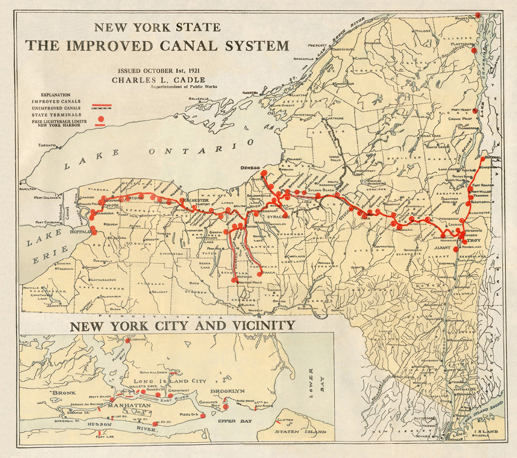 New York State, The Improved Canal System -- from: The Canal System of New York State / Charles L. Cadle -- Re-issued and revised (Albany : J.B. Lyon Co., printers, 1921)